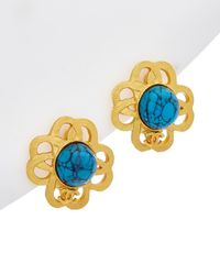 Chanel Gold-tone & Blue Cc Celtic Knot Clip-on Earrings