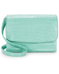 Nancy Gonzalez Small Croc-embossed Leather Crossbody - Green