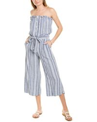 Bella Dahl Ruffle Strapless Linen-blend Jumpsuit - Blue