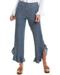 Trina Turk Zacatecas Linen-blend Pant - Blue