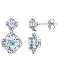 Rina Limor 14k 4.02 Ct. Tw. Diamond & Sky Blue Topaz Earrings