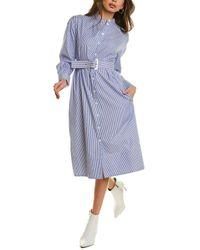 Tibi Striped Shirting Shirtdress - Blue