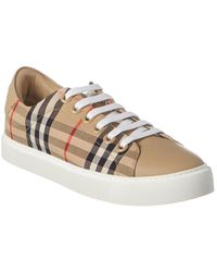 Burberry Check Leather-trimmed Trainers - Natural