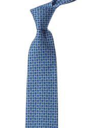 Ferragamo Blue & Green Gancini Silk Tie