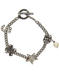 Chanel - Black-tone Crystal Charm Bracelet - Lyst