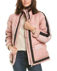 Add Short Wool-blend Down Jacket - Pink