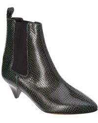 Isabel Marant Dawell Embossed Leather Bootie - Green