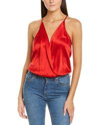 Michelle Mason Silk Wrap Bodysuit - Red