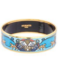 Hermès Plated Printed Enamel Wide Bangle Bracelet - Blue
