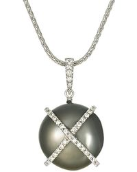 Tara Pearls - 18k 0.25 Ct. Tw. Diamond & 15-16mm Tahitian Pearl Necklace - Lyst