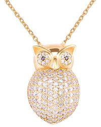 Gabi Rielle Gold Over Silver Cz Owl Pendant Necklace - Metallic