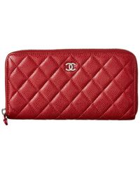 Chanel Red Quilted Calf Leather Zip-around Wallet