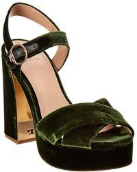 Tory Burch Loretta Velvet Platform Sandal - Green