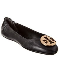 Tory Burch Minnie Travel Leather Ballet Flat - Black