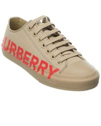 Burberry Logo Print Gabardine Canvas Trainer - Brown