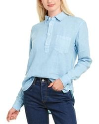 Solid & Striped The Popover Linen Shirt - Blue