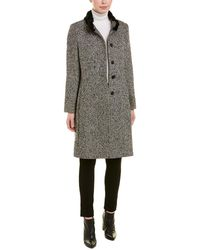 Cinzia Rocca Stand-up Wool-blend Coat - Blue