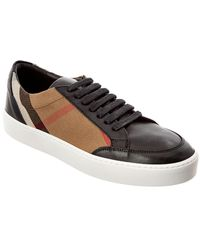 Burberry Check Detail Leather Sneaker - Black