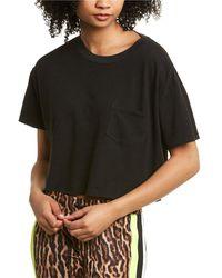 Pam & Gela Crop Skater Linen-blend T-shirt - Black