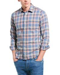 FRAME Frayed Hem Flannel Slim Fit Shirt - Blue