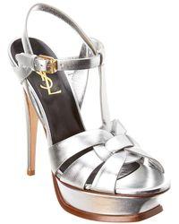 Saint Laurent Tribute 75 Metallic Leather Sandals