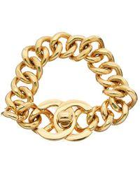 Chanel Gold-tone Medium Cc Turnlock Bracelet - Metallic