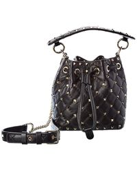 Valentino Garavani Rockstud Mini Leather Bucket Bag - Black