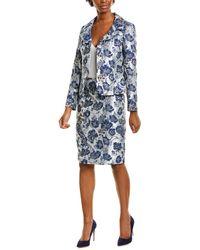 Tahari 2pc Jacket & Skirt Set - Blue