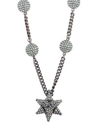 Swarovski Crystal Ruthenium Plated Necklace - Metallic