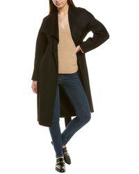 Vince Drape Front Wool & Cashmere-blend Coat - Black