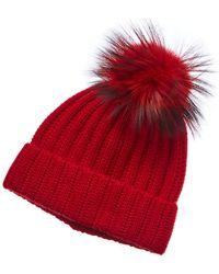 Phenix Cashmere Hat With Pom - Red