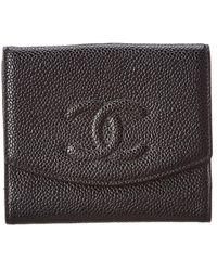 Chanel - Black Caviar Leather Cc Wallet - Lyst