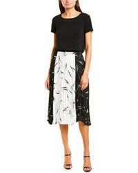 Donna Morgan Short Sleeve Midi Dress - Black