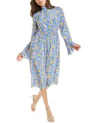 Les Rêveries Ruffle Cuff Silk Midi Dress - Blue