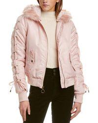Kensie Sateen Bomber Jacket - Pink