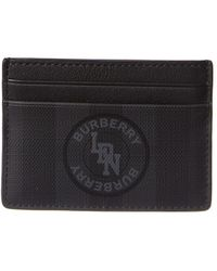 Burberry Logo Graphic London Check Leather Card Case - Black