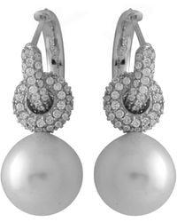 Splendid Splendid Pearl Rhodium Plated 12-13mm Pearl Cz Earrings - Metallic