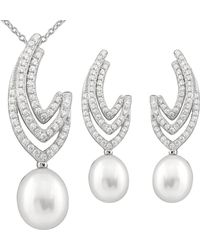 Splendid - Rhodium Plated 7.5-8mm Pearl & Cz Necklace & Earrings Set - Lyst