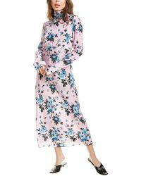 Les Rêveries Bias Floral Bow Silk Midi Dress - Blue