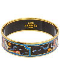 Hermès Plated Printed Enamel Wide Bangle Bracelet - Metallic
