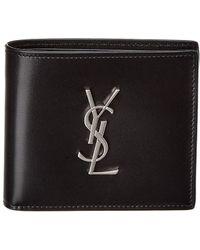 Saint Laurent Monogram Leather Wallet - Black