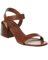 Burberry Monogram Motif Leather Sandal - Brown