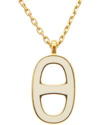 Hermès Gold-tone & White Enamel Chained Ancre Necklace