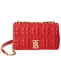 Burberry Small Lola Quilted Grainy Leather Crossbody - Red