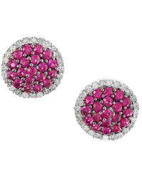 Effy - Fine Jewelry 14k 0.78 Ct. Tw. Diamond & Ruby Studs - Lyst