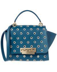 Zac Zac Posen Eartha Top Handle Embroidered Polka Dot Crossbody Bag - Blue