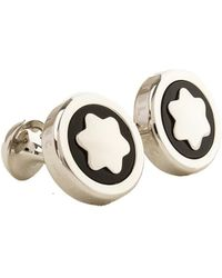 Montblanc Silver-tone & Onyx Round Cufflinks - Metallic
