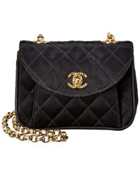 Chanel Black Quilted Satin Mini Single Flap Bag