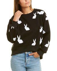 Cynthia Rowley Flynn Flocked Bunnies Sweatshirt - Black