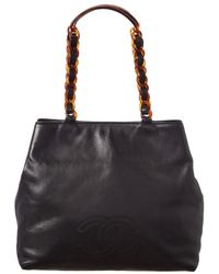 500dbe6cbcf0 Chanel - Black Lambskin Leather Cc Tote - Lyst